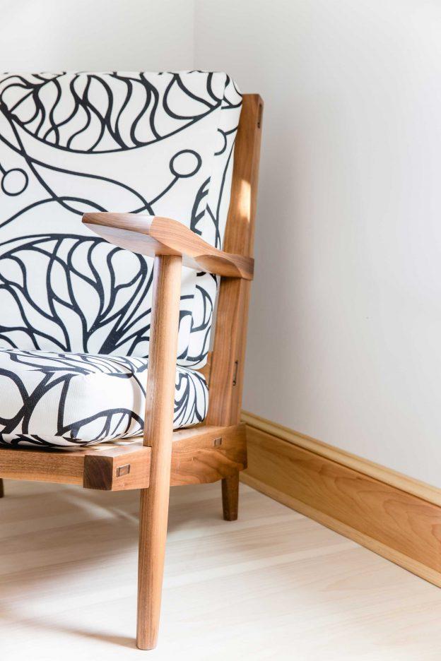 Studio89 custom furniture design Walnut arm chair